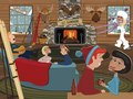 Vintage apres ski scene inside a cabin with skis, fireplace, people and in winter.