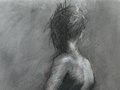 Walking toward Light, Charcoal on Paper, 19 x 25 inches, $1250 Framed