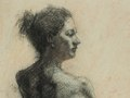 Female Figure, Charcoal pencil on tone paper, 11.75x15.75 inches, $400